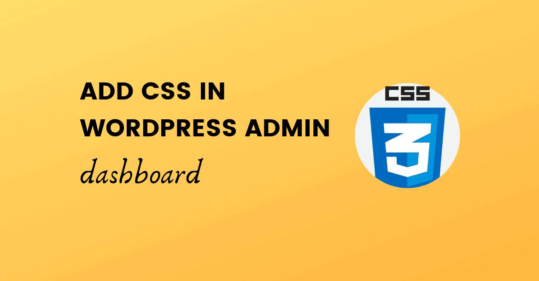 add css in wordpress admin dashboard