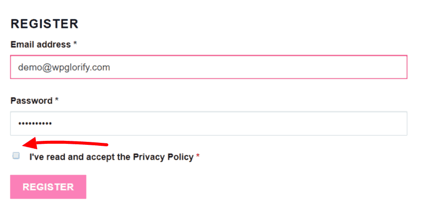 Add Privacy Policy Concent on WooCommerce Account Registration Form 1