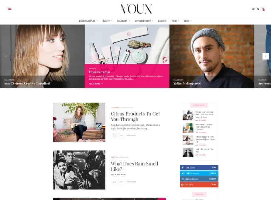 the voux wordpress theme