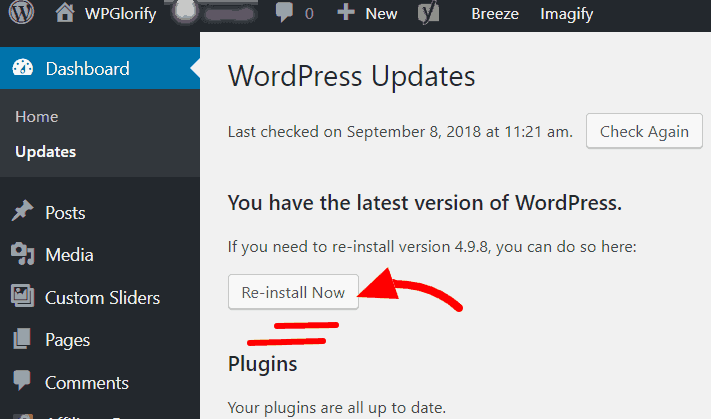 update wordpress from dashboard