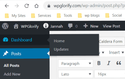 update wordpress menu
