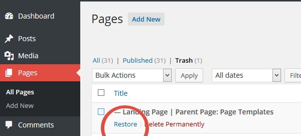 wordpress trash arestore