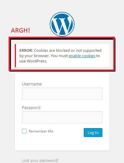 Cookies Blocked Error on WordPress